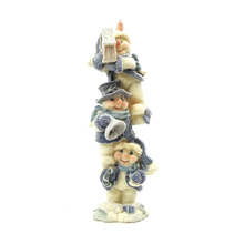 "1256440A - 8"" Blue Velvet Touch Resin Snowmen Tower Statue - Holding Birdhouse"