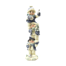"1256440B - 8"" Blue Velvet Touch Resin Snowmen Tower Statue  - Holding Candy Cane"