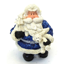 "1256553C - 6"" Resin Royal Blue Glitter Santa Statue Holding Bear"