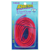 36095 - Diesel 25 Foot 18 Gauge Red/Black Power Wire