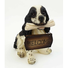 "1257203SPANIEL - Resin  ""Welcome""  Spaniel Puppy Statue"