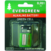 EB9V - Evergreen 9 Volt Alkaline Battery In Display Package
