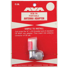 "ICB76 - Portable Cb Antenna Adapter-Accepts 3/8""X24 Thread"
