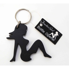 TG101-B - Trucker Girl Bottle Opener Keychain (Black)