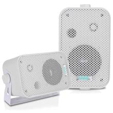 """PYLE - PDWR30-W 3-1/2"""" 300 Watt Indoor Or Outdoor Waterproof Boxed Speaker Pair - In White"""
