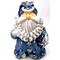 "1256522B - 8"" Curly Beard Resin Blue Glitter Santa Statue With Silver Bell & Gift"