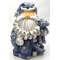 "1256522D - 8"" Curly Beard Resin Blue Glitter Santa Statue With Star & Teddy Bear"