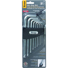 "12735 - Titan Tools 9 Pc Sae Detent Ball Hex Key Set 1/16"" Up To 3/8"""