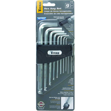 12736 - Titan Tools 9 Pc Metric Detent Ball Hex Key Set 1.5 Up To 10mm