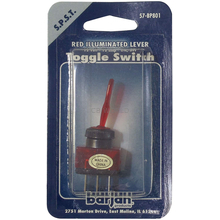 057BP801 - 12 Volt Red Illuminated Lever 20 Amp On/Off Toggle Switch