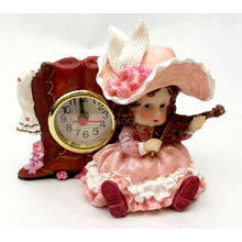1256138B-P - Victorian Resin Clock - Girl Musician With Violin In Pink Dress