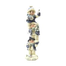 "1256440B - 8"" Blue Velvet Touch Resin Snowmen Tower Statue  - Holding Candy Cane"