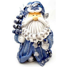 """1256522A - 8"""" Curly Beard Resin Blue Glitter Santa Statue With Christmas Tree"""