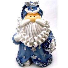 """1256522B - 8"""" Curly Beard Resin Blue Glitter Santa Statue With Silver Bell & Gift"""
