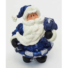 "1256553D - 6"" Resin Royal Blue Glitter Santa Statue Holding Bag Of Gifts"