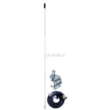 AUMM13-W - 3' White Single 3-Way So239 Mirror Mount CB Antenna Kit