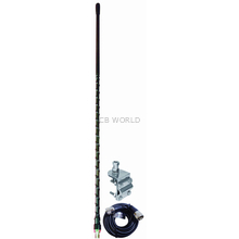 AUMM14-B - 4' Black Single 3-Way So239 Mirror Mount CB Antenna Kit