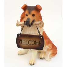 "1257203COLLIE - Resin ""Welcome"" Collie Puppy Statue"