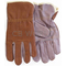 743 - Cloth Lined Brown Leather Mens Work Gloves With Purple Palm, Size Large  (1 Pair)
